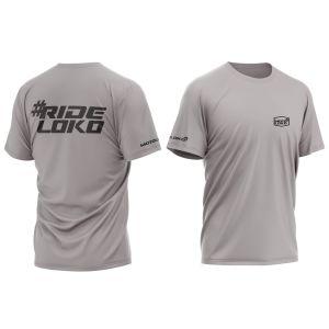 front & back of light grey RideLoko motorsports t-shirt