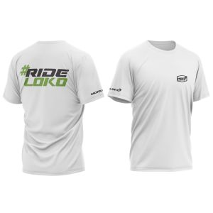front & back of white RideLoko motorsports t-shirt with green print