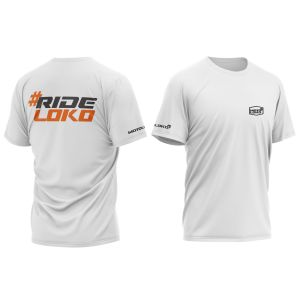 front & back of white RideLoko motorsports t-shirt with orange print