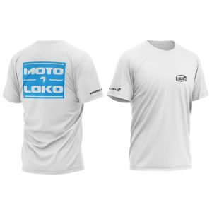 front & back of white split motorsports t-shirt with blue print