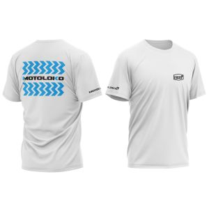 front & back of white zigzag motorsports t-shirt with blue print