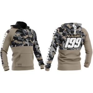 Front & back of sand camo motorsport customisable hoodie