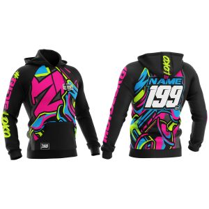 front & back of graffiti motorsports hoodie with example customisation