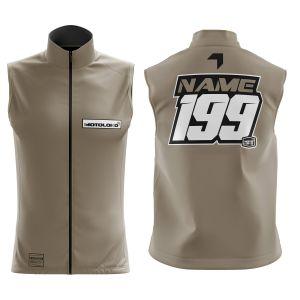 Front & back of sand fresh motorsports customisable softshell bodywarmer