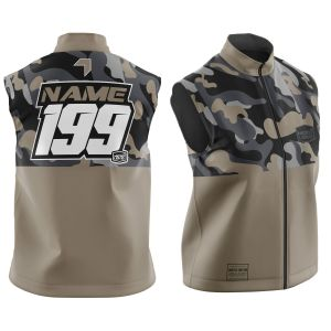 Front & back of sand camo motorsports customisable softshell bodywarmer