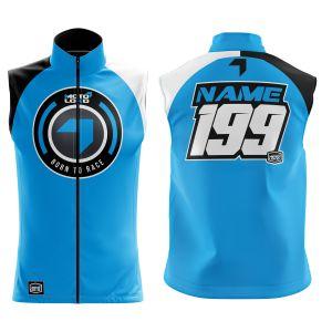Front & back of blue born 2 race motorsports softshell bodywarmer