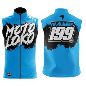 Front & back of blue brushed motorsports softshell bodywarmer