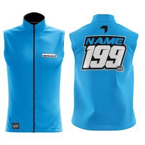 Front & back of blue fresh motorsports softshell bodywarmer