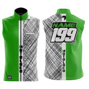 Front & back of green scribble motorsports softshell bodywarmer