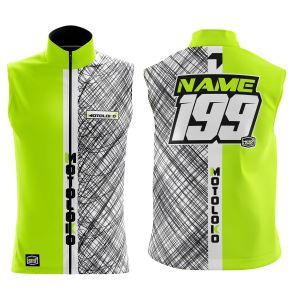 Front & back of yellow scribble motorsports softshell bodywarmer
