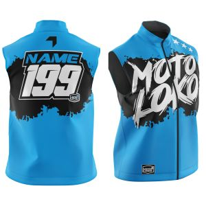 Front & back of customised blue brushed motorsports softshell bodywarmer