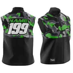 Front & back of customised green camo motorsports softshell bodywarmer