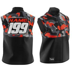 Front & back of customised orange camo motorsports softshell bodywarmer