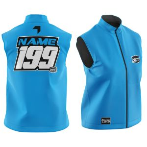Front & back of blue motorsports softshell bodywarmer with example customisation