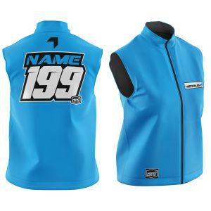 Front & back of customised blue fresh motorsports softshell bodywarmer