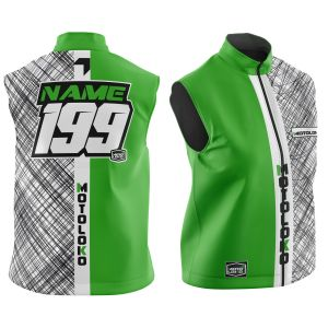 Front & back of customised green scribble motorsports softshell bodywarmer