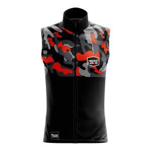 Front of orange Camo motorsports softshell bodywarmer