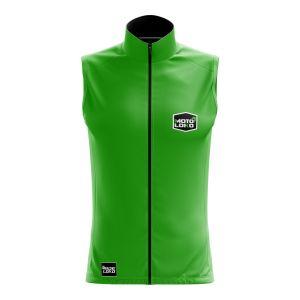 Front of green customisable motorsport softshell bodywarmer