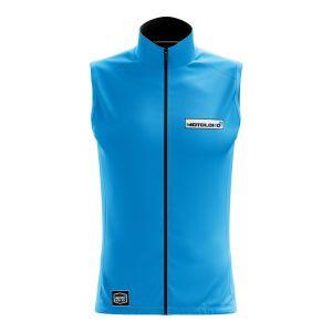 Front of blue fresh motorsports softshell bodywarmer