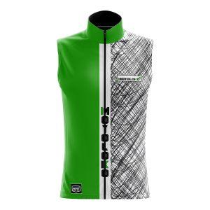 Front of green scribble motorsports softshell bodywarmer