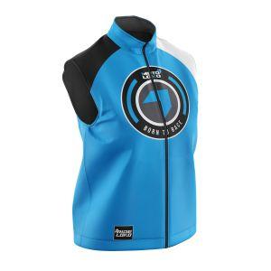 Front of blue born 2 race motorsports softshell bodywarmer
