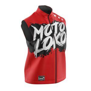 Front of red brushed motorsports softshell bodywarmer