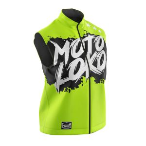 Front of yellow brushed motorsports softshell bodywarmer