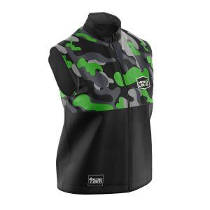 Front of green camo motorsports softshell bodywarmer