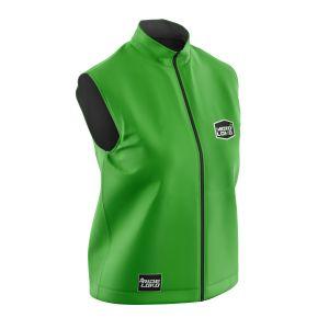 Front of green customisable motorsports softshell bodywarmer