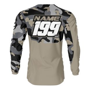 back of sand camo motorsports jersey with example customisation