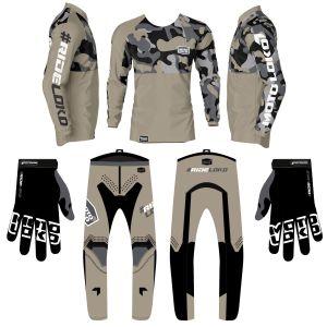 Sand camo motorsports kit bundle showing jersey, pants and gloves