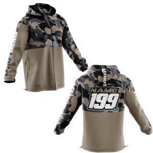 Front & back of sand camo motorsports customisable softshell jacket