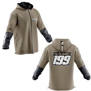 Front & back of sand fresh motorsports customisable softshell jacket