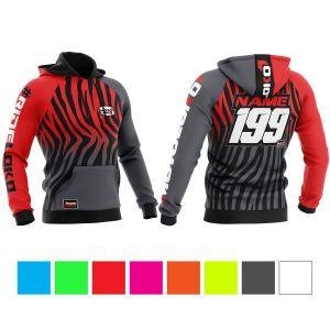 front & back of black & red primal instinct motorsports hoodie showing colour options