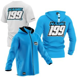 sublimated blue motorsports pit pack including t-shirt, hoodie and softshell jacket with example customisation