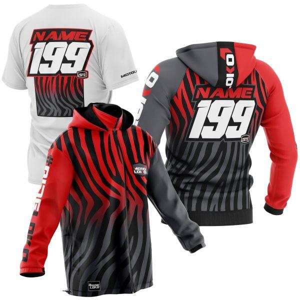 Black and red primal instinct motorsports pit pack including t-shirt, hoodie & softshell jacket