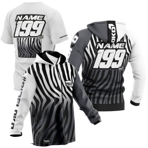 Black and white primal instinct motorsports pit pack including t-shirt, hoodie & softshell jacket