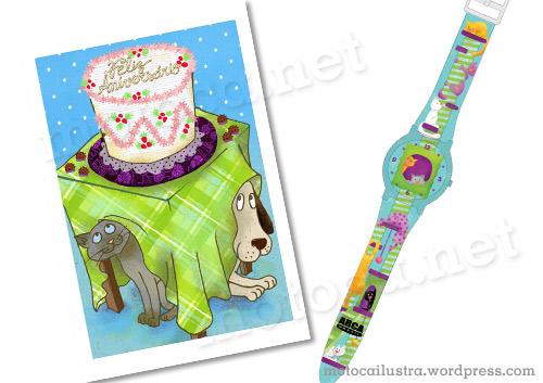 cartão aniversário e relógio Arca