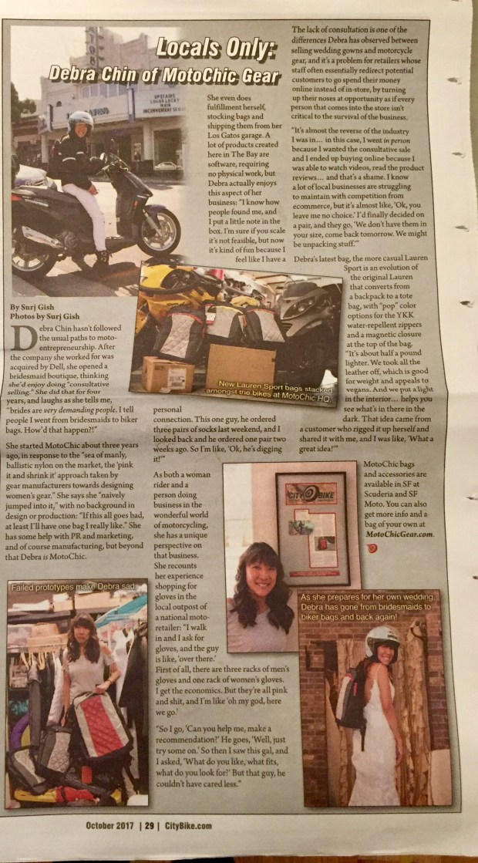 October 2017 - CityBike - Locals Only: Debra Chin of MotoChic Gear