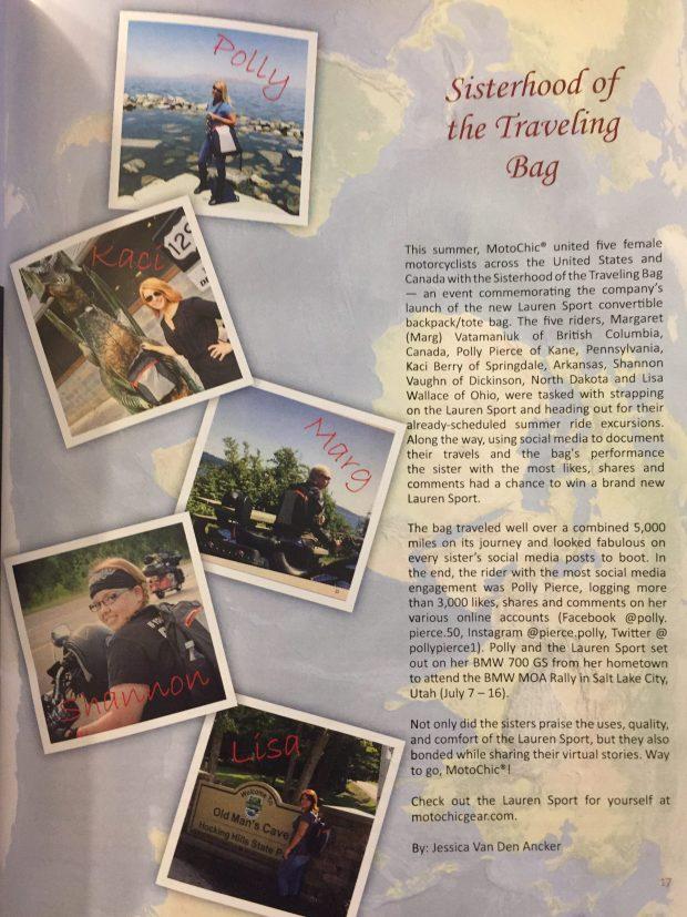 Modern Moto Magazine Issue 5 - 2017 - Sisterhood of the Traveling Bag