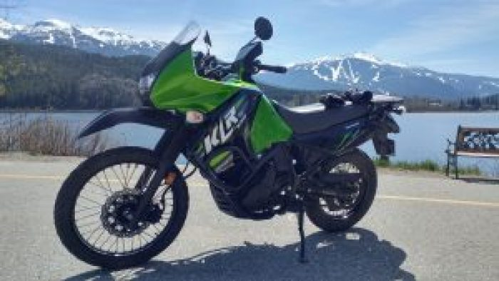 Parked in front of Whistler Mountain with my KLR 650