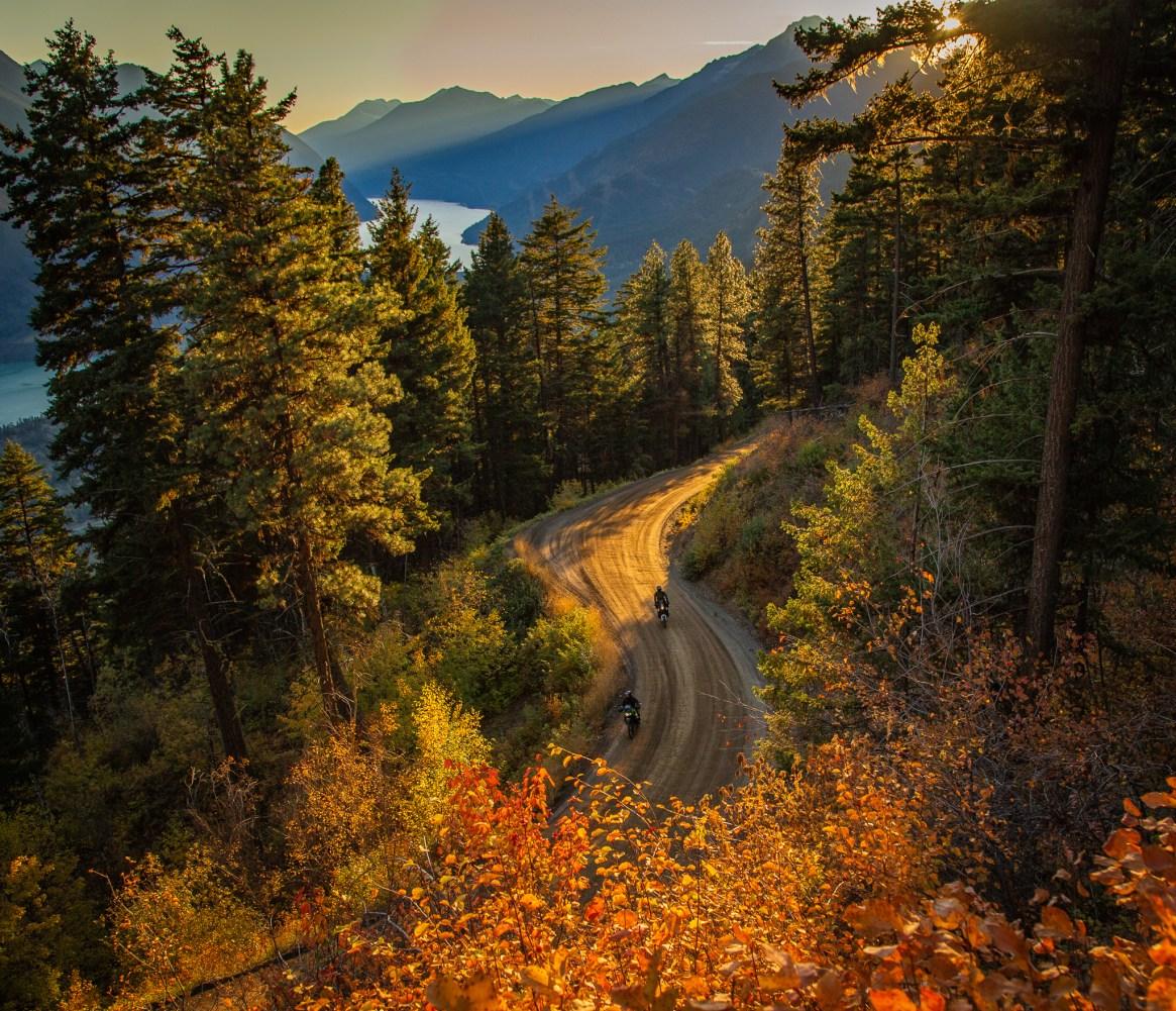 Autumn motorcycle riding through British Columbia