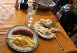 Lunch time, sausage and chips Spanish style