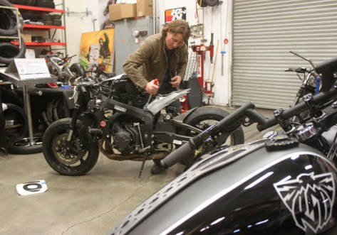 Before he left for the evening, Roland couldn't help but cut up my sub-frame and take the CBR to the point of no return