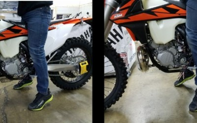 Lowered vs stock KTM and Husky, side by side comparison.