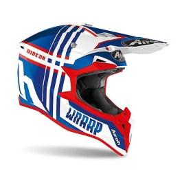 Casco Moto Cross Enduro Airoh WRAAP Broken Blu Rosso Lucido