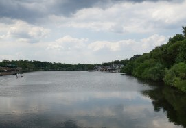 Schuylkill River with beautiful boat houses