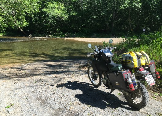 """This dirt road ended with a creek crossing and a """"private property"""" sign"""