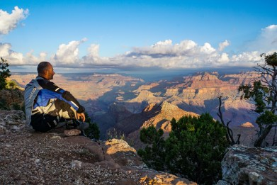Enjoying the solitude and peace at sunrise at Grand Canyon
