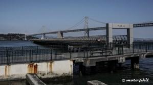 Oakland Bay Bridge behind Pier 14